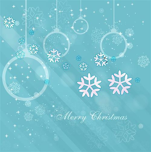 圣诞雪花蓝色贺卡插画