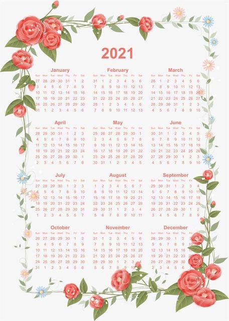 2021日历带周数图片