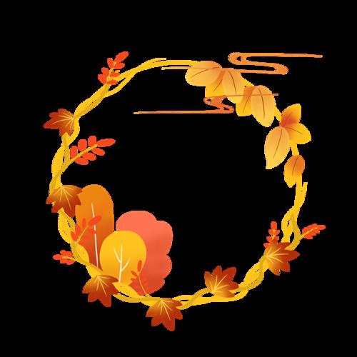 手绘秋季树叶圆形边框