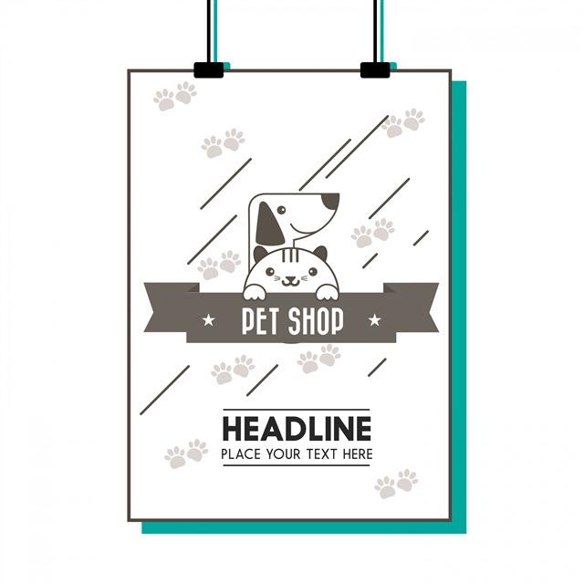 宠物店卡通海报