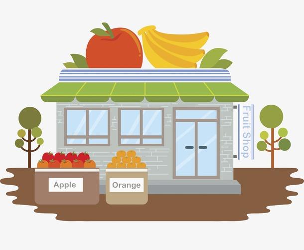 扁平风水果超市插画