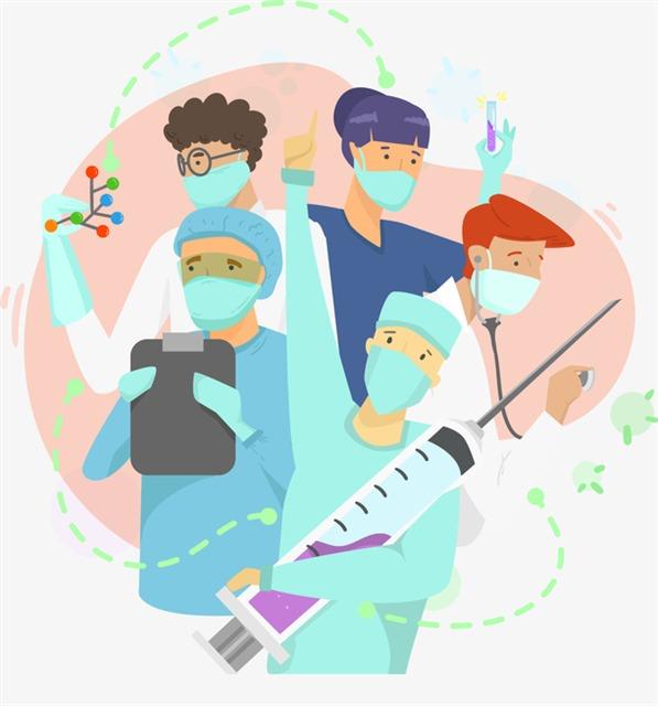 戴口罩抗疫医护人员卡通插画