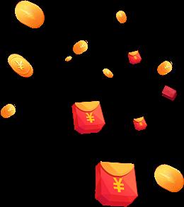 双12红包金币漂浮元素