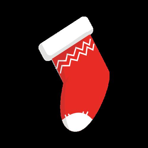 红色卡通矢量圣诞袜