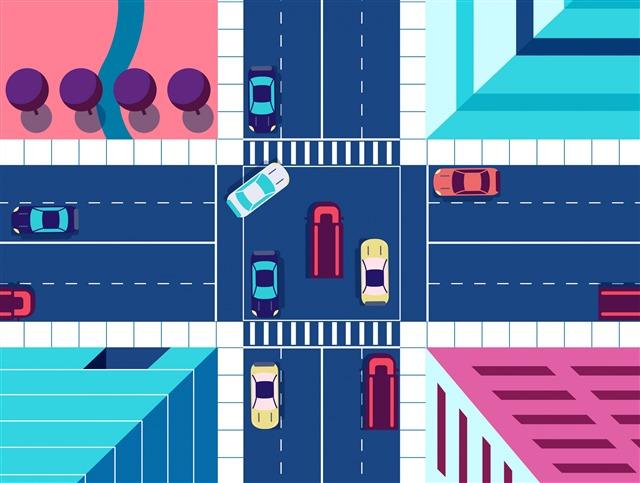 十字路口创意画图片