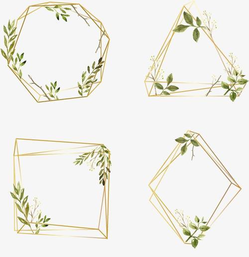 清新花卉植物金色边框