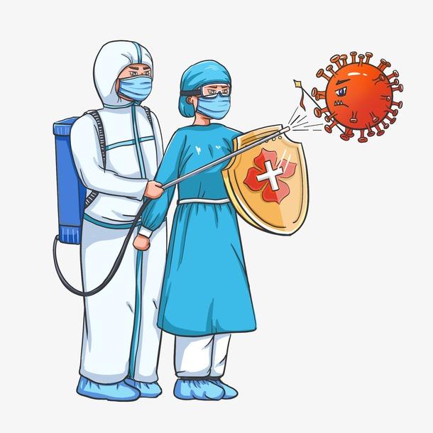 抗疫医护人员卡通漫画图片
