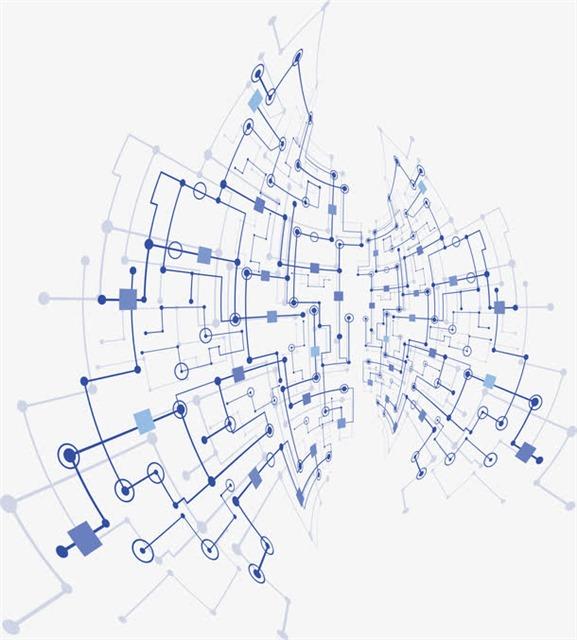 科技感蓝色网络线路图
