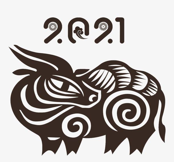 2021剪纸牛年画