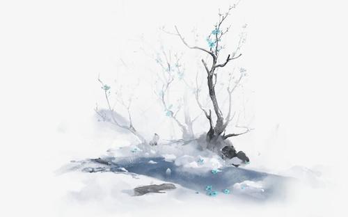 水墨画枯树