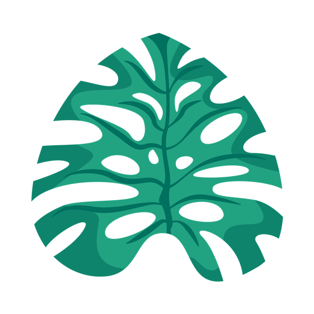 热带植物绿叶手绘装饰元素