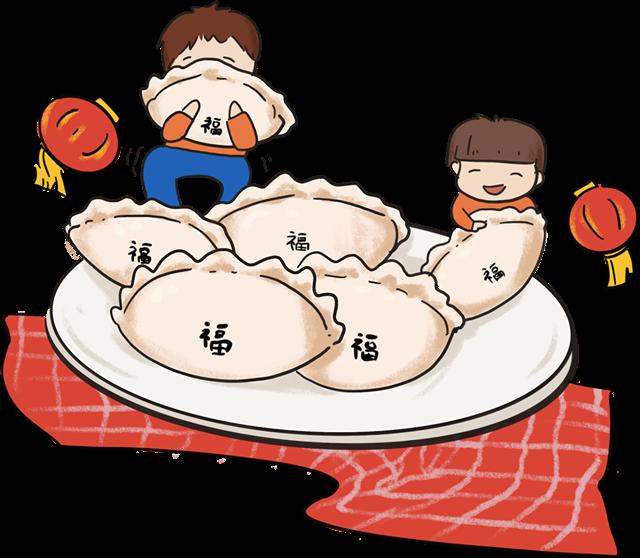 卡通冬至包饺子