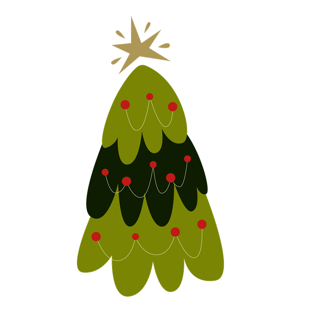 扁平化矢量绿色圣诞树