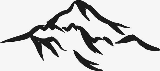 中国风水墨山脉简笔画