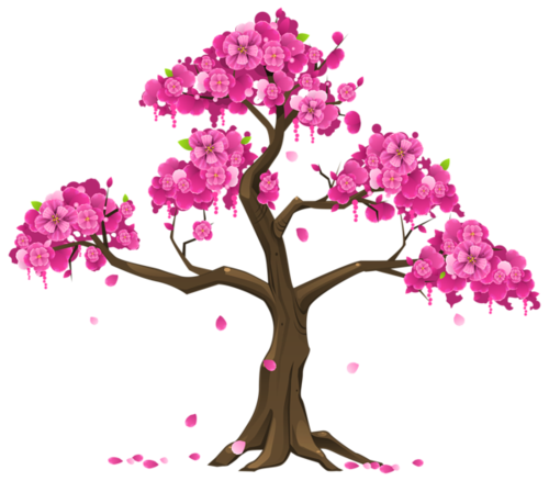 桃花树木AI矢量元素