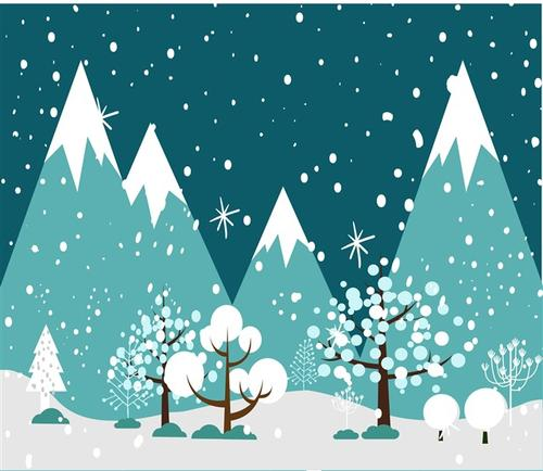 冬至唯美下雪插画