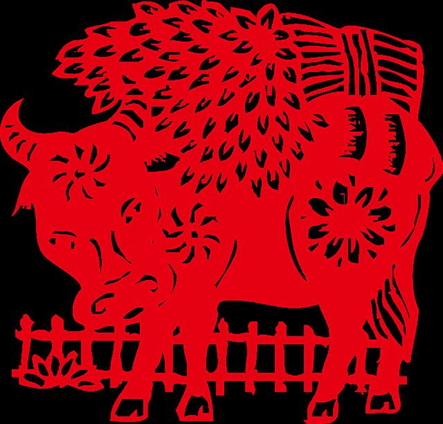 2021牛年红色牛剪纸元素