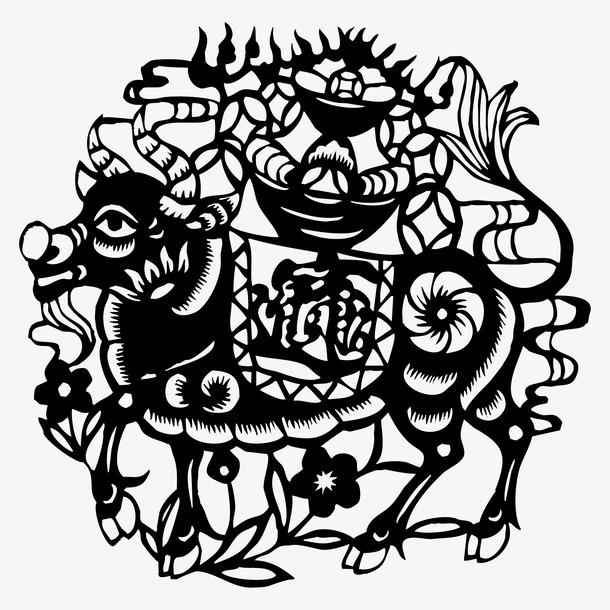 中式剪纸牛贴画