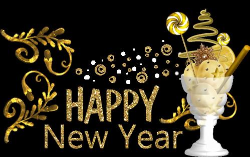 新年快乐金色质感艺术字
