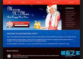 红色导航圣诞节网站模板