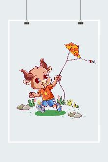 放风筝的小牛卡通