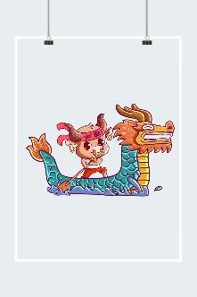 中国风卡通小牛插画