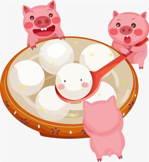 猪猪与汤圆可爱插画