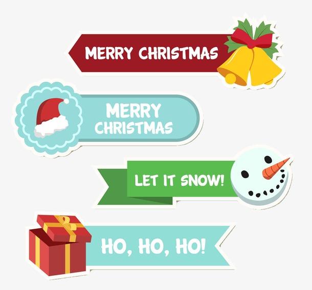 彩绘圣诞节标签矢量素材