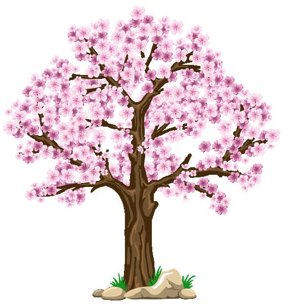 手绘粉色桃花树木免抠