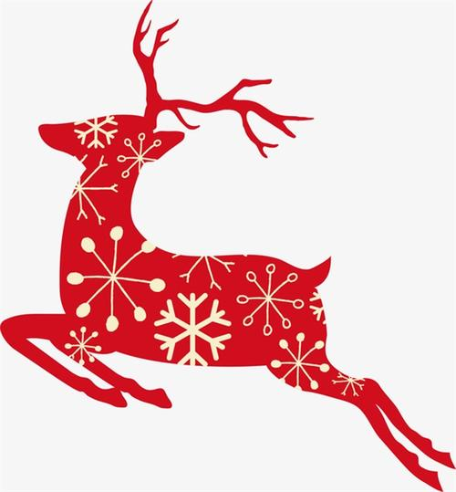 红色圣诞麋鹿剪影