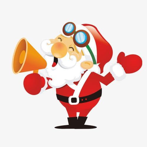 可爱卡通拿喇叭的圣诞老人