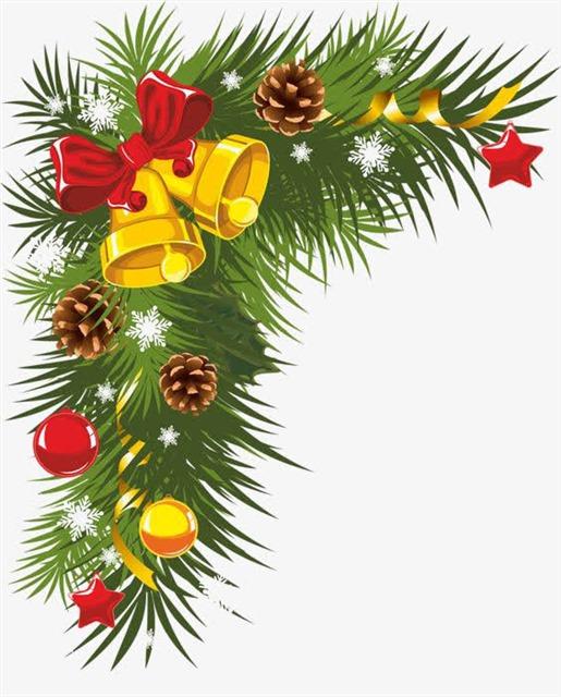 圣诞节松果铃铛装饰画