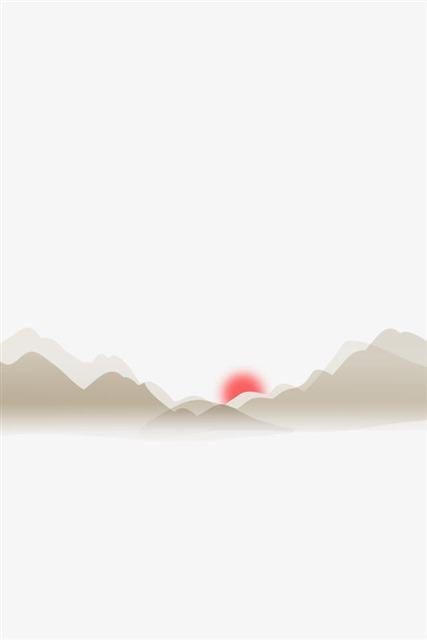中国画红日山脉