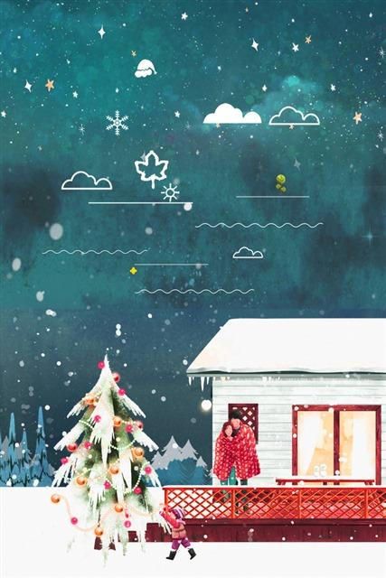 温馨圣诞主题手绘插画