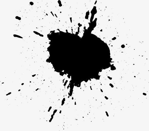 黑色墨迹飞溅