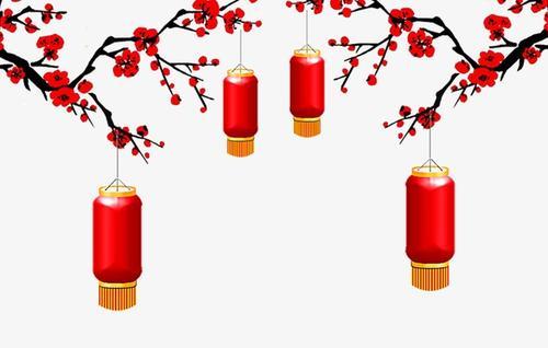 红色梅花灯笼新年矢量图