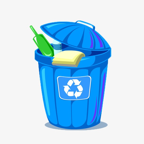 蓝色垃圾桶图片