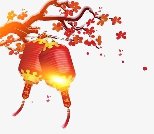 红色灯笼梅花装饰