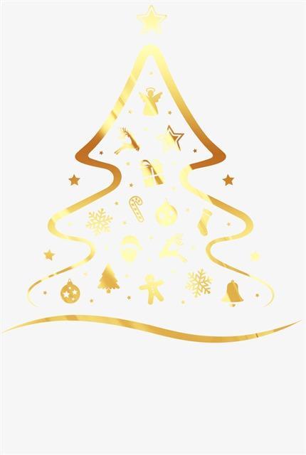 金色圣诞树漂浮元素