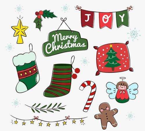 12款可爱手绘圣诞矢量元素
