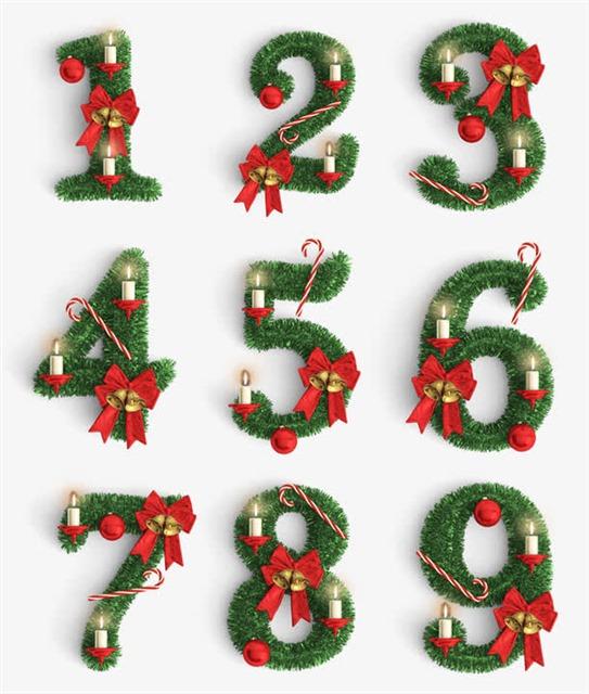 圣诞节数字字体装饰