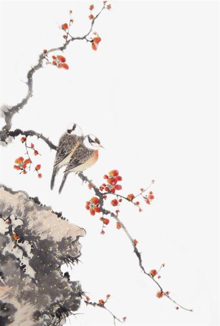 中国风桃花山鸟水墨画