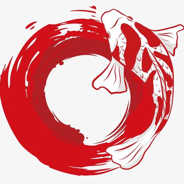 红色锦鲤水墨画