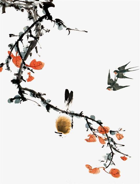 水墨画燕子树枝