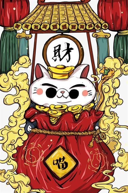 国潮风招财猫壁纸