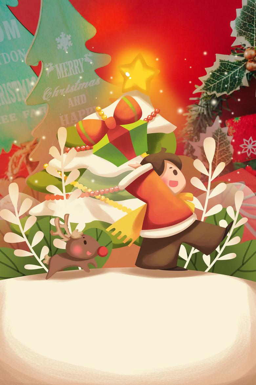 手绘卡通圣诞节插画海报