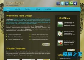 浅绿色花纹背景HTML模板