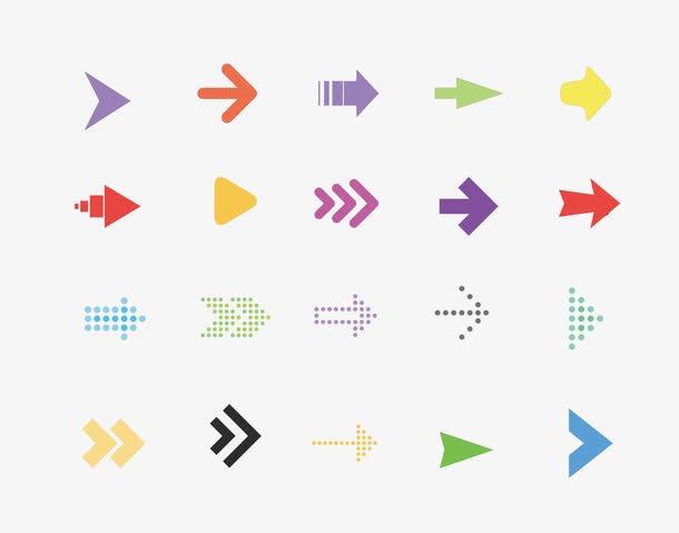 彩色卡通箭头矢量图标
