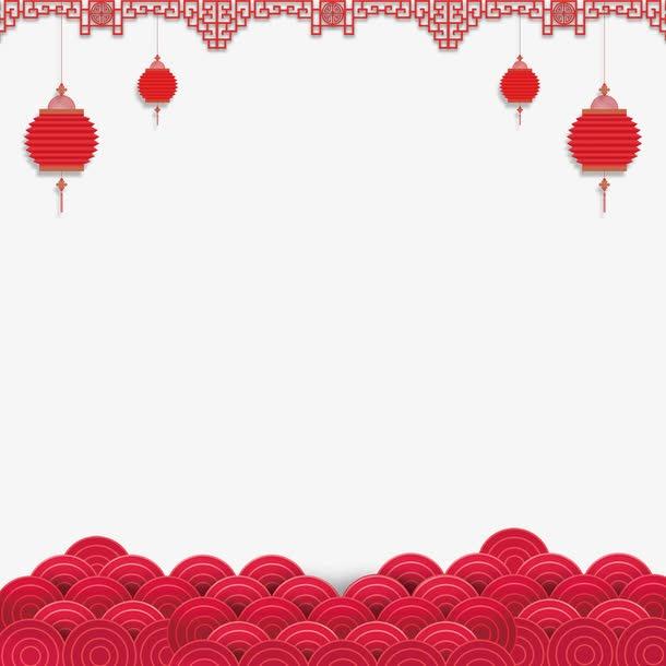 中国红新年灯笼祥云装饰