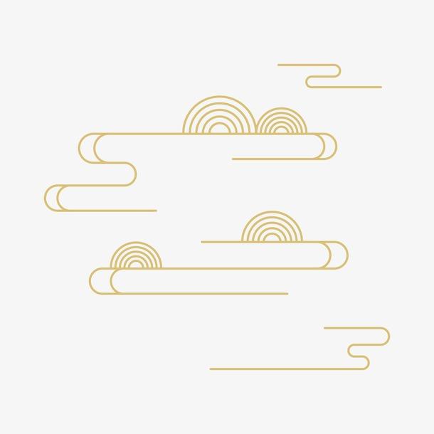金色祥云线条图案元素